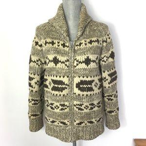 VINTAGE Cowichan 100% Wool Zip Front Sweater M/L